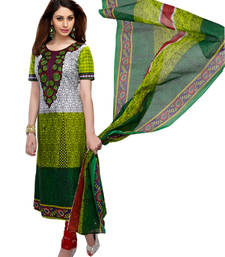 Buy GREEN  printed pure-cotton unstitched salwar with dupatta dress-material online