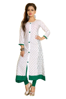 White Printed Rayon Long Kurtis