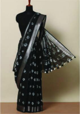 Dark Chocolate Hued Saree In Linen With Shibori Work