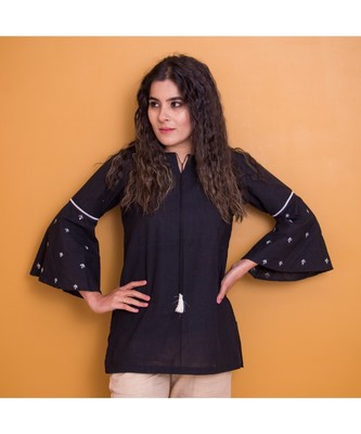 BLACK KHADI COTTON GOTA PATTI TOP