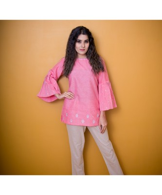 PINK KHADI COTTON GOTA PATTI TOP