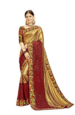 Golden printed net saree with blouse