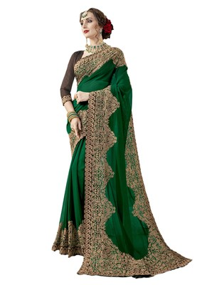 Dark green embroidered georgette saree with blouse