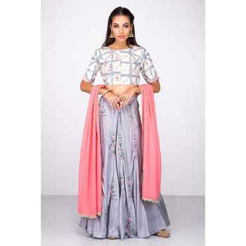 Grey silk tie dye blouse with silk grey lehega and resham and cut dana embroidery with  gerogette coral pink dupatta
