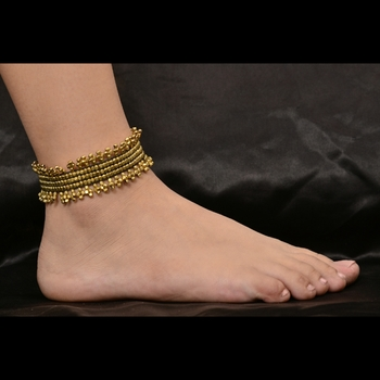 Gold Brass Beaded Tie Up Anklet