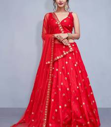 Red  Embroidered Art Silk Unstitched Lehenga With Dupatta