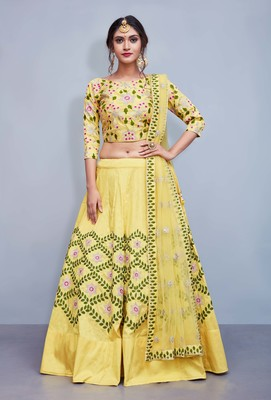 Yellow Embroidered Art Silk Unstitched Lehenga With Dupatta