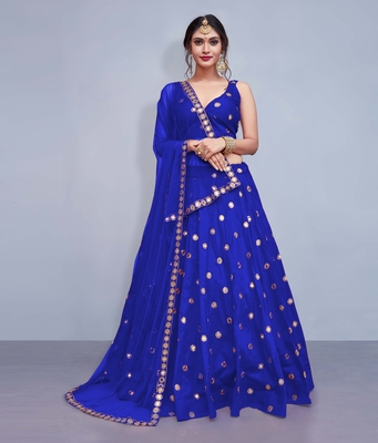 Blue Embroidered Art Silk Unstitched Lehenga With Dupatta