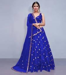 Blue Embroidered Art Silk Semi Stitched wedding lehenga
