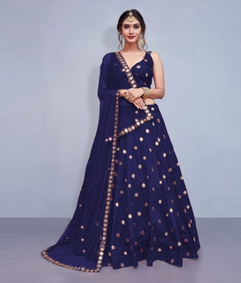 Navy-blue embroidered art silk unstitched lehenga with dupatta