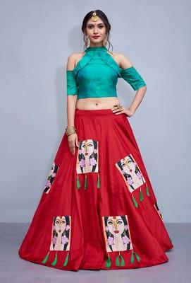 Red  printed art silk unstitched lehenga
