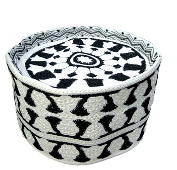 black and white islamic Barkati topi