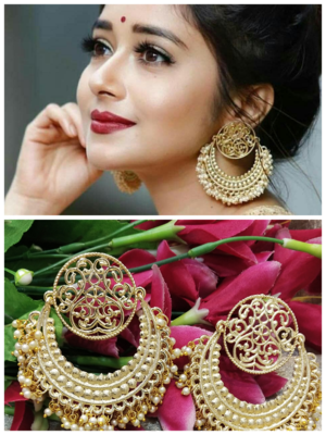 Ethnic Indian Bollywood Chandbali Pearl Designer Earrings