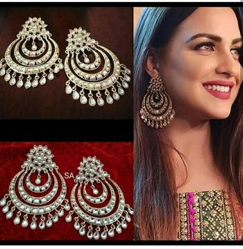 Ethnic Indian Bollywood Chandbali Kundan Designer Earrings