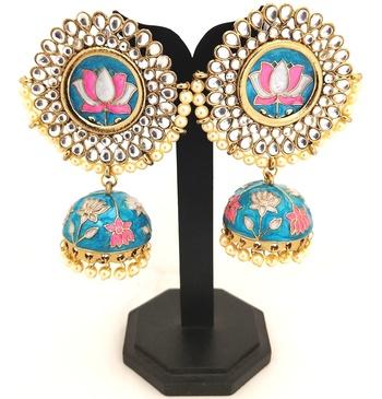 Ethnic Indian Bollywood Lotus Meenakari Bkue Pink Designer Jhumki Earrings