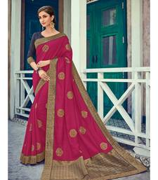 magenta embroidered silk blend saree with blouse