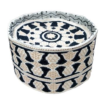 white and dark blue islamic barkati crown cap