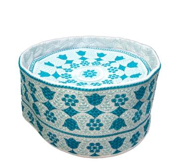 Sky blue symmetric pattern Barkati topi