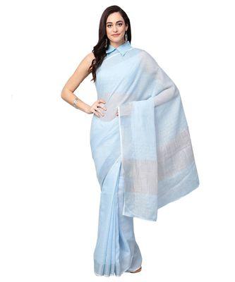 Blue Cotton Blend Woven saree with blouse