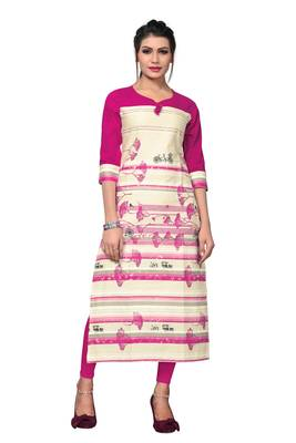 Pink Printed Flex Cotton Straight Kurti