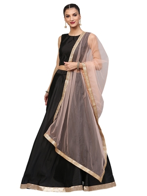 Black Tafeta Silk Embroidered Semi Stitched Lehenga With Unstitched Blouse & Dupatta