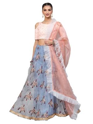 Pink Art Silk Embroidered Semi Stitched Lehenga With Unstitched Blouse & Dupatta
