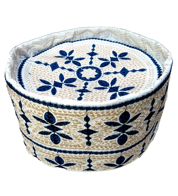 off white embroidered islamic topi