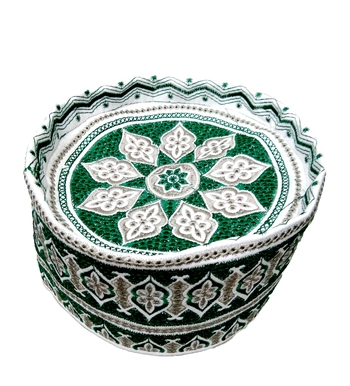 green embroidered islamic crown cap