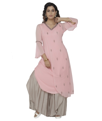 pink embroidered georgette dresses