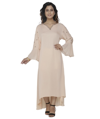cream embroidered georgette dresses