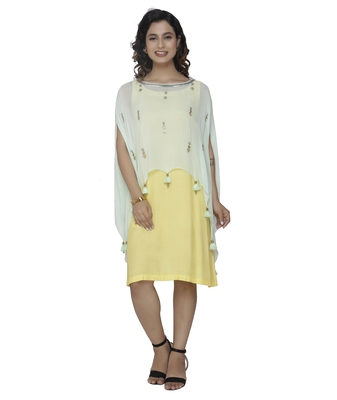 yellow embroidered georgette dresses