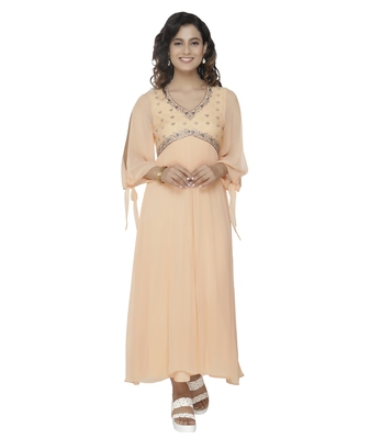 beige embroidred georgette stitched party wear gown