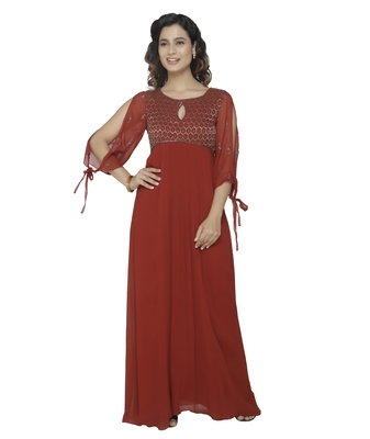 maroon embroidred georgette stitched party wear gown