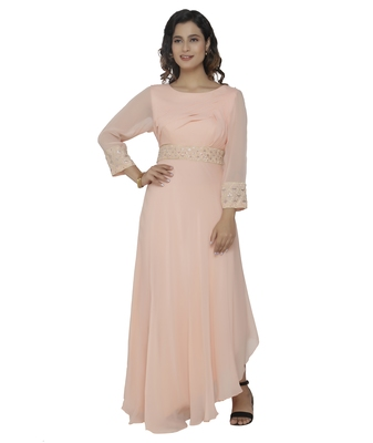 peach embroidred georgette stitched party wear gown