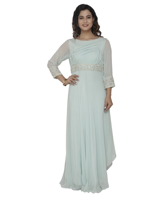 bsea green embroidred georgette stitched party wear gown