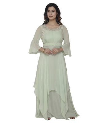 green embroidred georgette stitched party wear gown