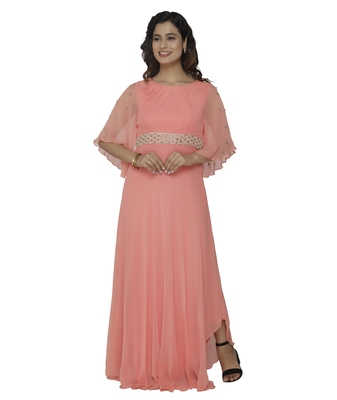 coral embroidred georgette stitched party wear gown