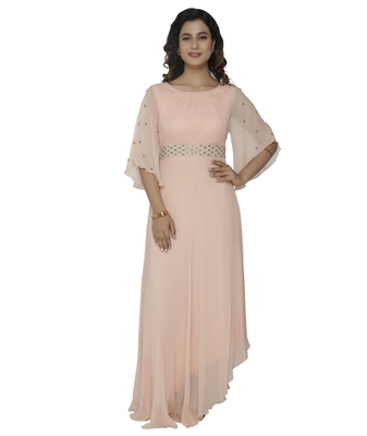 cream embroidred georgette stitched party wear gown