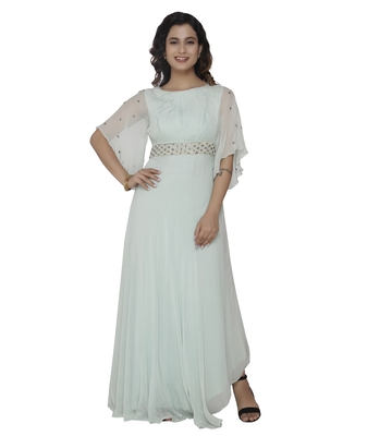 blue embroidred georgette stitched party wear gown
