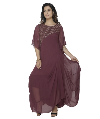 purple embroidred georgette stitched party wear gown