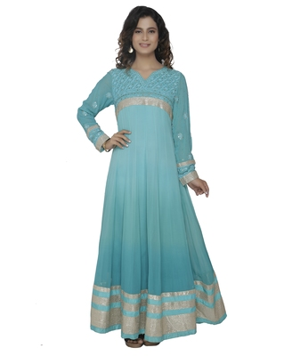 turquoise embroidred cotton stitched party wear anarkali