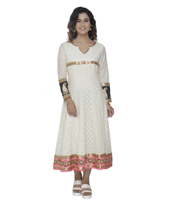 white embroidred cotton stitched party wear anarkali