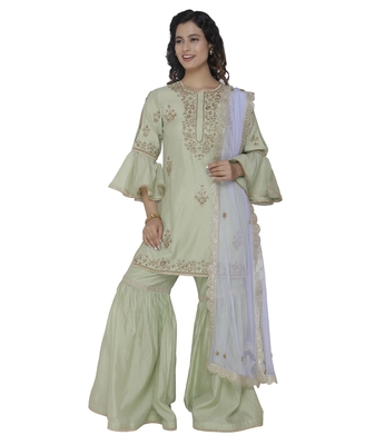 pista embroidered chanderi stitched sharara