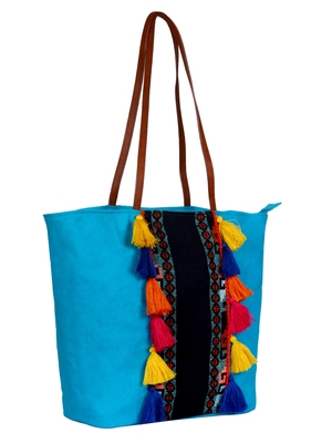 Anekaant Hoist Blue canvas and Jacquard tote bag