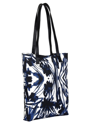 Anekaant Engrave Navy Blue Printed Canvas Tote bag