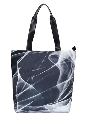 Anekaant Flex Blue and White Printed Canvas Tote Bag