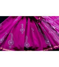 Magenta Pink Block Printed Silk Chanderi Saree With Blouse