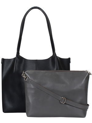 Anekaant Medley Black Leatherette Shoulder Bag with Pouch