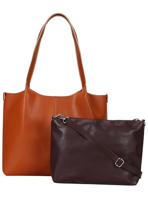Anekaant Medley Tan Leatherette Shoulder Bag with Pouch
