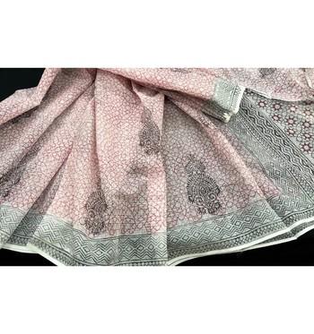 White Block Printed Cotton Kotadoria Saree Without Blouse Piece